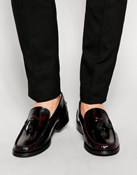 Asos Loafers In Leather Burgundy