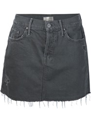 Mother Mini Denim Skirt Grey