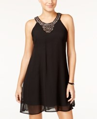 As U Wish Juniors' Embellished Halter Shift Dress Black