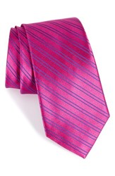 Nordstrom Men's Men's Shop Stripe Silk Tie Fuchsia