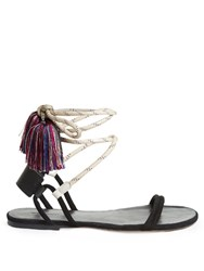 Isabel Marant Astrid Tassel Wraparound Rope Sandals Black