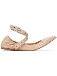 Valentino 'Love Latch' Ballerinas Nude And Neutrals