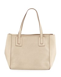 Neiman Marcus Perforated Small Tote Bag Beige