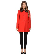 Kate Spade Single Breasted Peacoat 30 Lollipop Red Women's Coat
