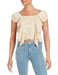 Free People Crocheted Shawl Collar Crop Top Alabaster Combo