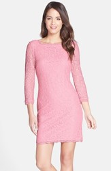 Adrianna Papell Women's Lace Overlay Sheath Dress Pink