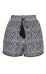Talitha Tribal Print Ruched Shorts Blue