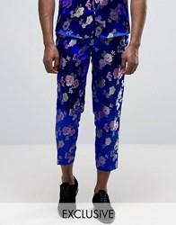 Reclaimed Vintage Brocade Trousers Blue