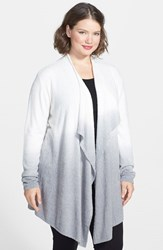 Plus Size Women's Barefoot Dreams Drape Front Cardigan White Pewter Ombre