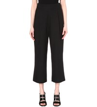 Whistles High Rise Cropped Textured Trousers Black