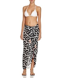 Macbeth Collection Printed Sarong Swim Cover Up Black White
