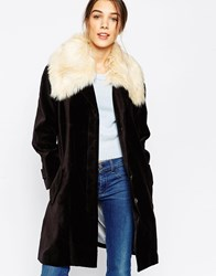 Antipodium Beagle Coat With Faux Fur Collar Black