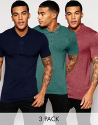 Asos Extreme Muscle Jersey Polo 3 Pack Navy Burgundy Teal Save 20 Multi