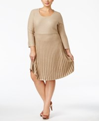 Calvin Klein Plus Size Skater Sweater Dress Khaki Gold