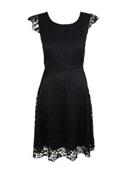 Feverfish Lace Frill Sleeve Skater Dress Black