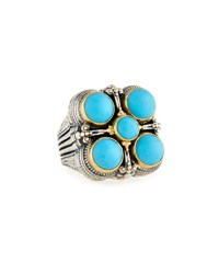 Konstantino Color Classics Square Five Stone Turquoise Ring