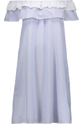 W118 By Walter Baker Tammy Off The Shoulder Striped Cotton Dress Blue
