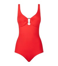 Melissa Odabash Square Cut Out Swimsuit Female Red