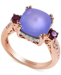 Effy Collection Effy Purple Chalcedony Rhodolite Garnet And Diamond Accent Ring In 14K Rose Gold 4 1 4 Ct. T.W.