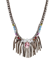 Liquorish Multi Gem Statement Necklace With Bars Grey