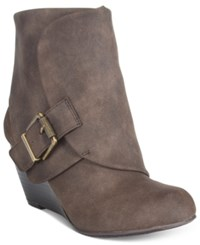 American Rag Coreene Cuffed Wedge Booties Only At Macy's Women's Shoes Chocolate