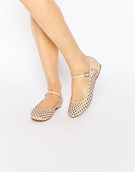 Truffle Collection Lulu Punched Mary Jane Flat Shoes Nude Pu Beige