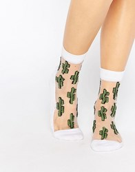 Asos Sheer Cactus Ankle Socks White