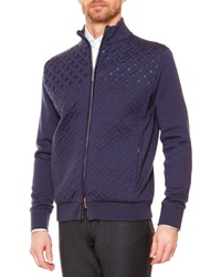 Stefano Ricci Textured Weave Full Zip Jacket Blue