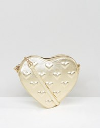 Asos Embossed Heart Cross Body Bag Gold