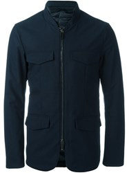 Emporio Armani Pocketed Military Jacket Blue