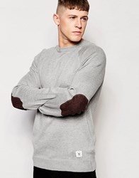 Bellfield Oathklaw Knited Jumper With Elbow Patches Grey