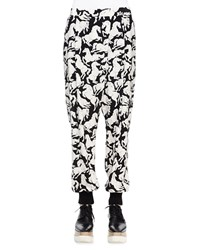 Stella Mccartney Horse Print Silk Harem Pants Black