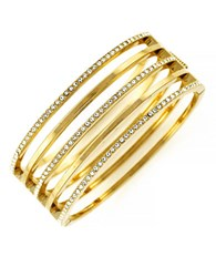 Vince Camuto Goldtone And Crystal Stacked Bangle Bracelet