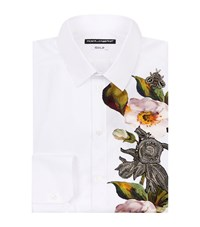Dolce And Gabbana Embellished Flower Shirt Male White