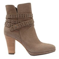Mint Velvet Simone Suede Block Heeled Ankle Boots Taupe