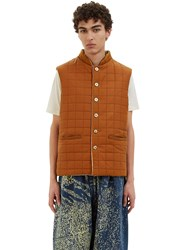 Anntian Oversized Reversible Quilted Gillet Brown