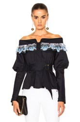 Peter Pilotto Cotton Lace Belted Top In Blue