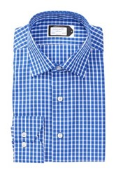 Lorenzo Uomo Long Sleeve Trim Fit Medium Check Wrinkle Free Dress Shirt Blue