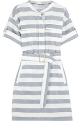 Burberry Brit Belted Striped Cotton Shirt Dress Navy