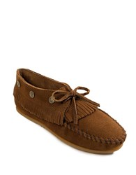 Minnetonka Fringed Suede Moccasin Booties Dusty Brown