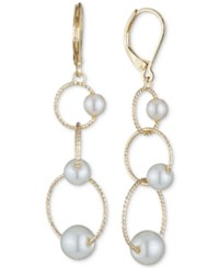 Anne Klein Gold Tone Imitation Pearl Fine Circle Triple Drop Earrings