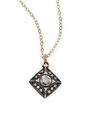 Ila Nasha White Sapphire Diamond Sterling Silver And 14K Yellow Gold Pendant Necklace Gold Silver