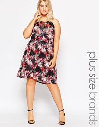 Praslin Plus Skater Dress With Lace Trim And Mesh Insert In Floral Print Multi