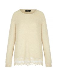 Mela Loves London Fluffy Lace Trim Jumper Cream