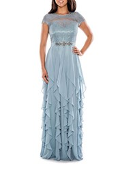 Decode 1.8 Lace Illusion Tier Gown Blue