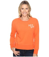 Life Is Good Painted Go To Crew Coral Orange Women's Long Sleeve Pullover