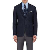 Canali Men's Plaid Wool Cashmere Two Button Sportcoat Navy