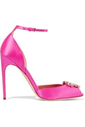 Brian Atwood Oriana Crystal Embellished Satin Sandals Bright Pink