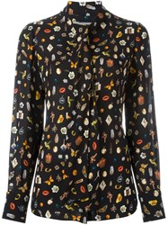 Alexander Mcqueen 'Obsession' Print Blouse Black