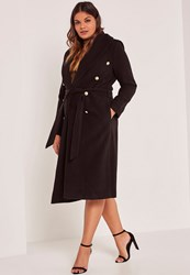 Missguided Black Plus Size Belted Faux Wool Coat